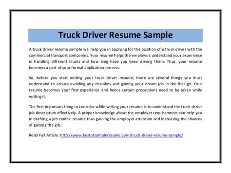Driver Curriculum Vitae Format by Truck Driver Resume Sle Pdf