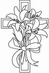Cross Lily Easter Coloring Clipart Pages Drawing Lilies Spring Line Printable Clip Flower Sketch Drawn Template Tattoo Cliparts Templates Fun sketch template