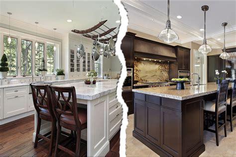 white kitchen cabinets versus brown quicua