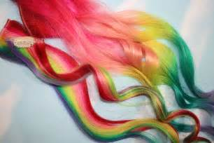 Rainbow Human Hair Extensions. Colored Hair Extension Clip, Hair Wefts, Clip in Hair, Tie Dye Hair Extensions, Dip Dyed Hair