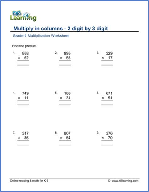 grade 4 math worksheet multiply in columns 2 by 3 digit numbers k5 learning