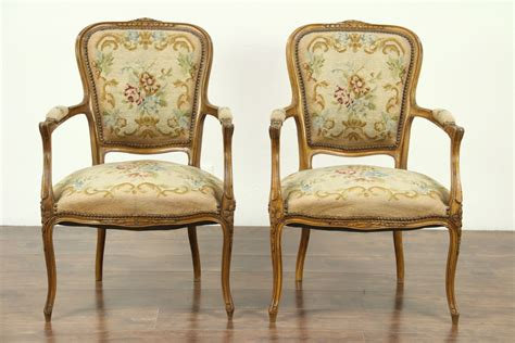 Pair Of Carved French 1925 Antique Chairs, Needlepoint