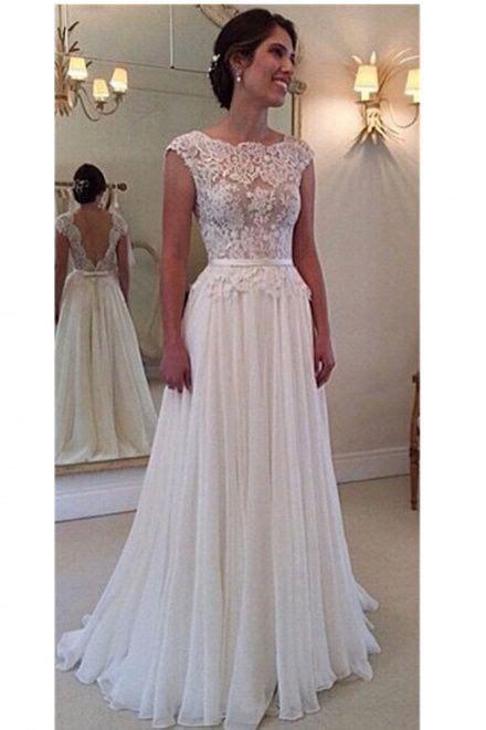 lace scalloped chiffon open  wedding dress