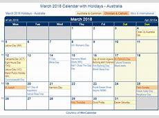 Print Friendly March 2018 Australia Calendar for printing