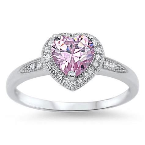 925 sterling silver halo promise ring 1 20 carat pink topaz pave russian cz