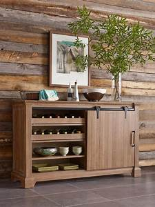 Transitional rustic sliding barn door buffet with wine for Buffet with barn doors