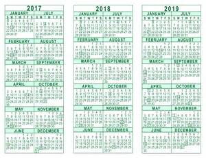 2017 2018 2019 Year Calendar Printable