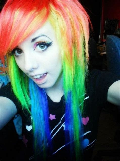 emo hair in rainbow style for young girls (2)   Fashion