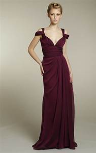 Long chiffon bridesmaids dress in rich maroon color for Maroon dresses for wedding