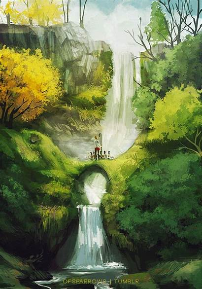Waterfall Landscape Gifs Tree Animated Painting Help