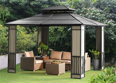 heavy duty galvanized steel hardtop wyndham patio gazebo ebay