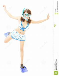 Happy Young Woman Make A Funny Pose With A Scuba Equipment ...