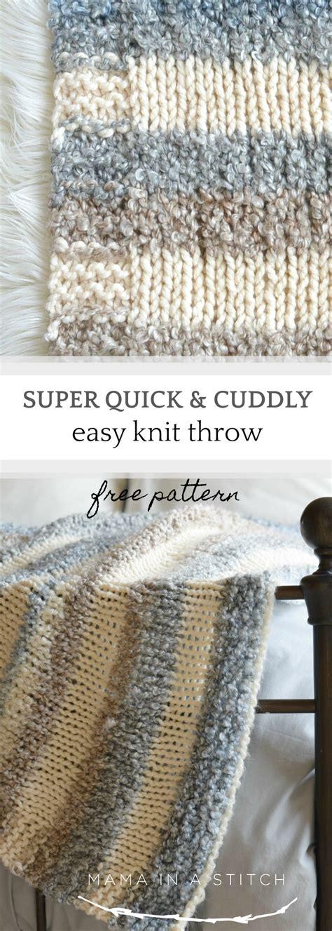 cuddly quick knit throw blanket pattern mama   stitch