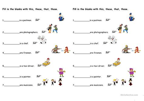 demonstratives pronouns exercises with pictures and