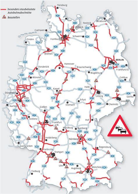 karte die schlimmsten staufallen im sommerreiseverkehr