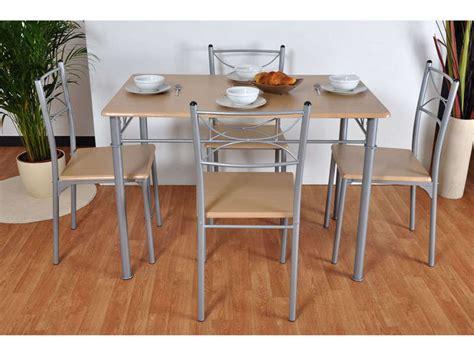 ensemble table 4 chaises sernan coloris gris h 234 tre