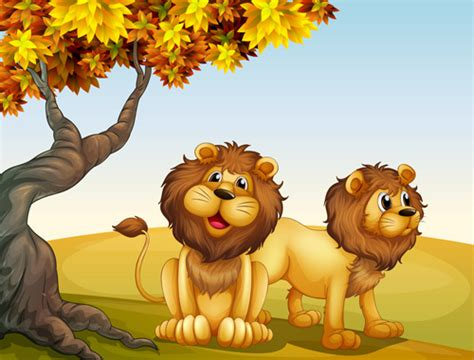 Cartoon Lion With Beautiful Nature Vector Free Vector In
