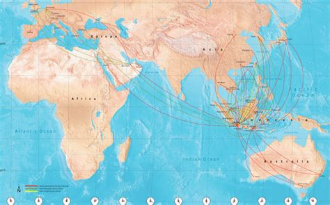 garuda indonesia route map international routes