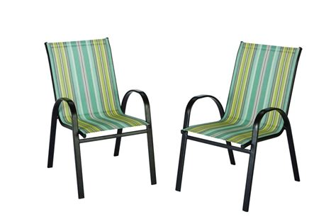 stack sling patio chair the home depot outdoor sling stack chair in stripe the