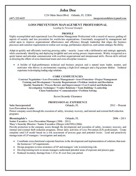 Loss Prevention Duties Resume by Loss Prevention Management Professional Resume