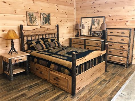rustic hickory panel log storage bedroom suite mountain