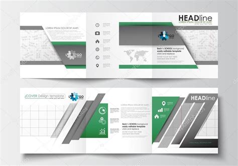 12102 business stock photo set of business templates for tri fold brochures square