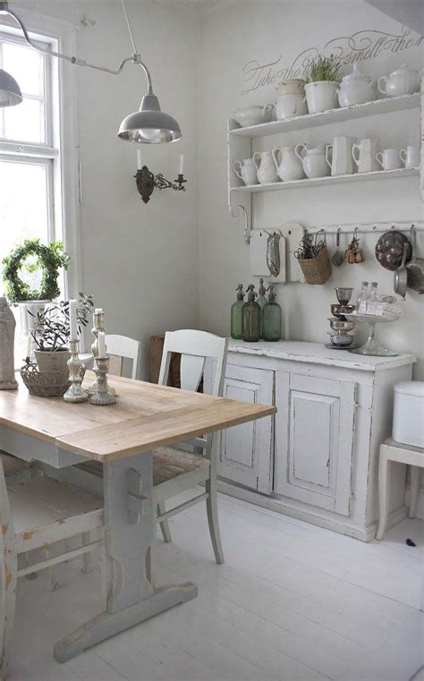 country chic kitchen dining room white grey black chippy shabby chic 2691