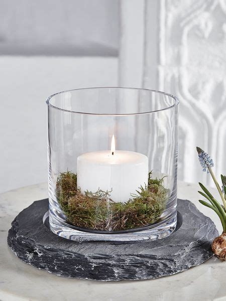 Slate Hurricane Lamp   Glass Hurricane Lamp Centrepiece