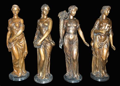 Set Of 4 Patinated Bronze Statues For Sale