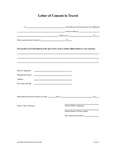 letter  consent  travel   minor child template