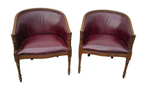 burgundy leather club chairs a pair chairish