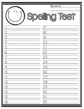 spelling test paper  big kids  tami teaches tami