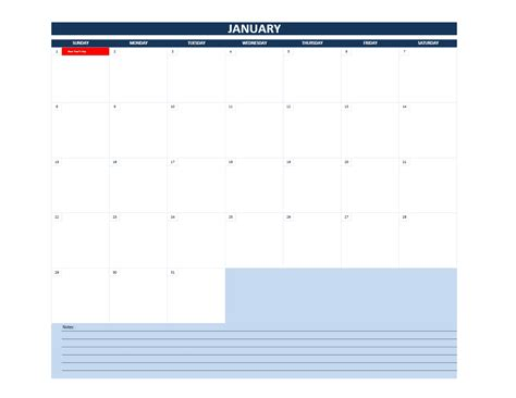 2017 Monthly Calendar Template Excel