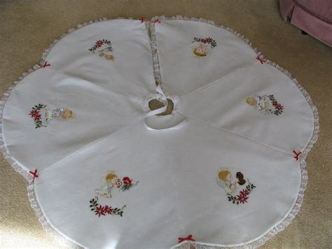 machine embroidered white christmas tree skirts with angel accents holiday decorations for your