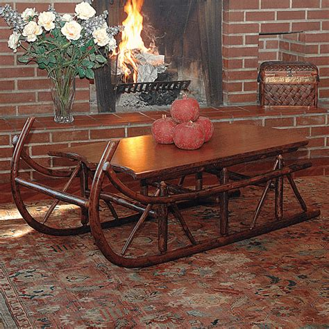 black forest hickory sleigh occasional table