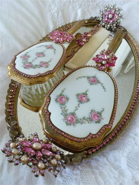 antique vanity dresser set lovely vintage held mirror and brush