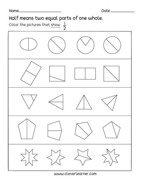 activity on fractions half 1 2 worksheets for children