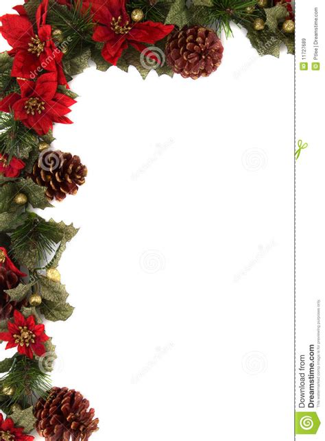 poinsettia  christmas decoration border stock image
