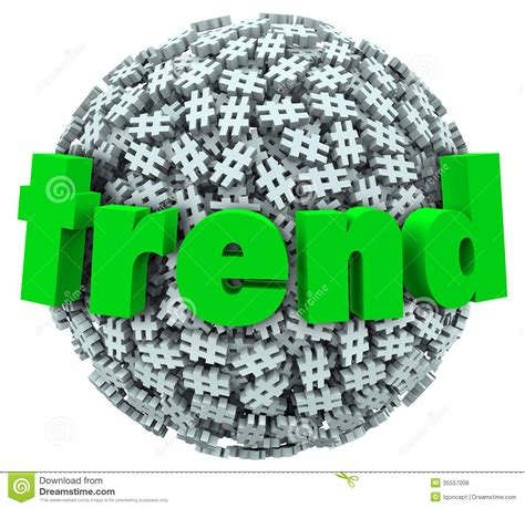 Trend Word Hashtag Tag Number Sign 3d Sphere Stock