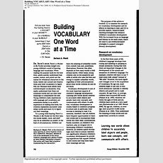(pdf) Building Vocabulary One Word At A Time