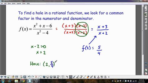 rational holes function finding