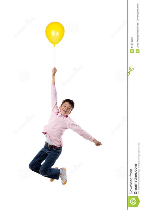 child flying  yellow balloon royalty  stock images