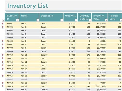 inventory list templates officecom boutique sales