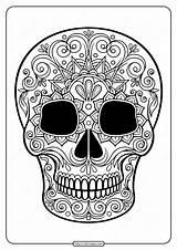 Coloring Skull Sugar Printable Pdf Tweet Whatsapp sketch template