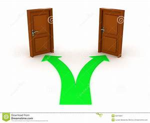 3D Arrow And Two Doors - Choice Concept Stock Illustration ...