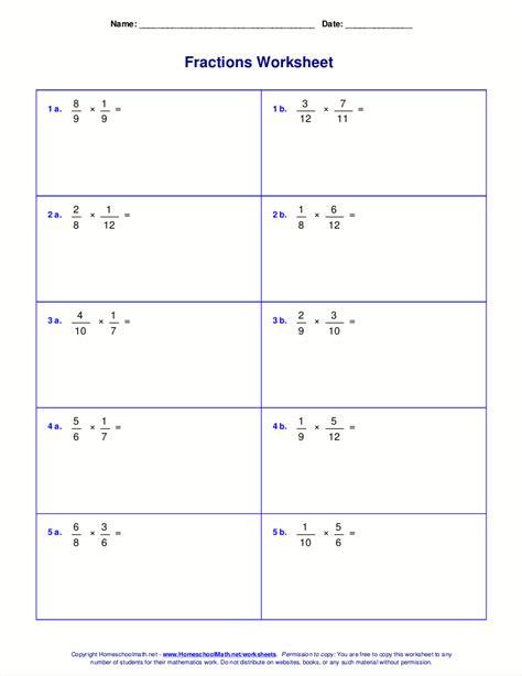 Worksheets For Fraction Multiplication
