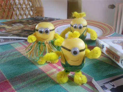 minions   kinder egg shells  recycled model