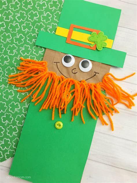 leprechaun paper bag puppet kid craft   mom
