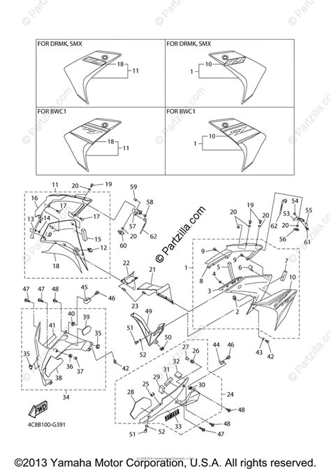 yamaha motorcycle 2008 oem parts diagram for cowling 2 partzilla com