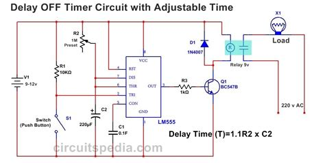 off delay timer wiring diagram 555 delay off timer circuit for delay before turn off circuit